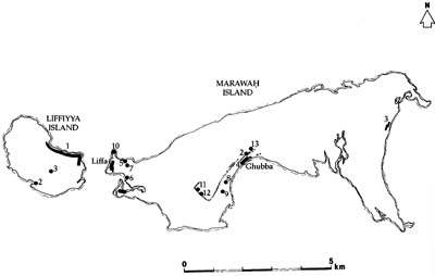 Mapping of archaeological sites on Marawah - 1st ADIAS season, 1992 (Source: ADIAS)