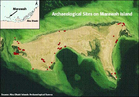 Mapping of archaeological sites on Marawah - April 2002 (Source: ADIAS)